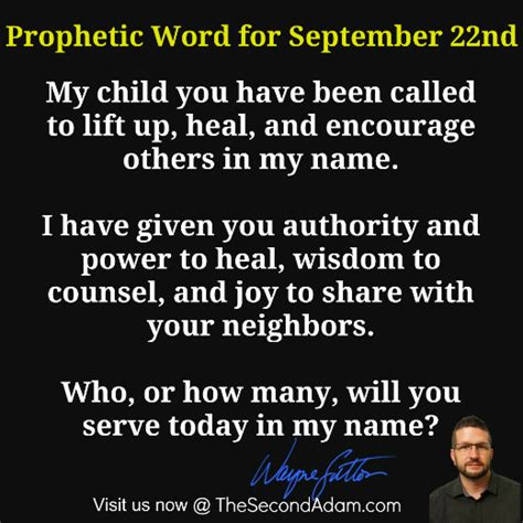 September 22nd Daily Prophetic Word Of God  The Second Adam