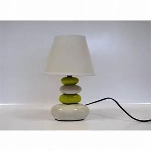 Lampe De Chevet Originale : lampe de chevet galet blanc et vert anis 31cm achat vente lampe de chevet galet blanc ~ Teatrodelosmanantiales.com Idées de Décoration