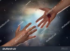 Hand Of Christ Reaching Down From Heaven To Grab The Hand ...