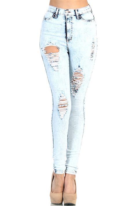 light wash high waisted skinny jeans destroyed high waisted jeans light acid wash