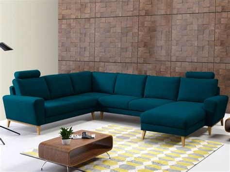 canapé 3 4 places canapé d 39 angle panoramique en tissu bleu ou gris visby