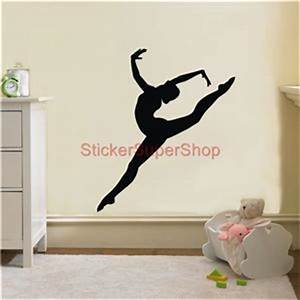 Gymnast silhouette decal removable wall sticker home decor for Gymnastics wall decals