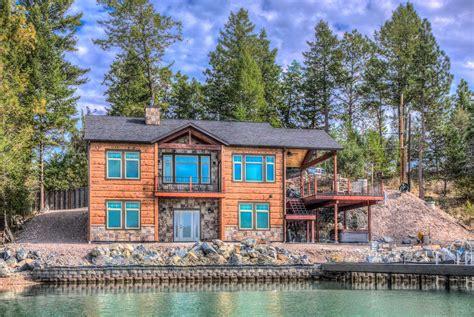 lake cabin point flathead lake montana concrete log siding