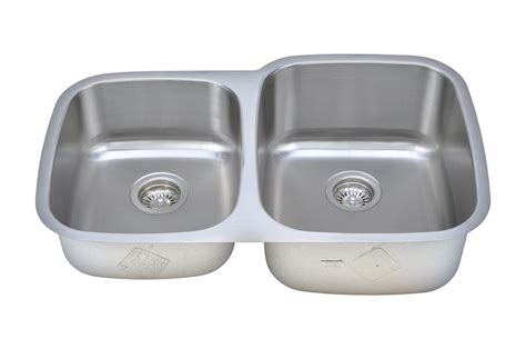 60 40 stainless steel sink wells sinkware 18 gauge 40 60 double bowl undermount