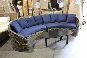 Curved woven rattan blue 2 piece sectional sofa with for Two piece curved sectional sofa