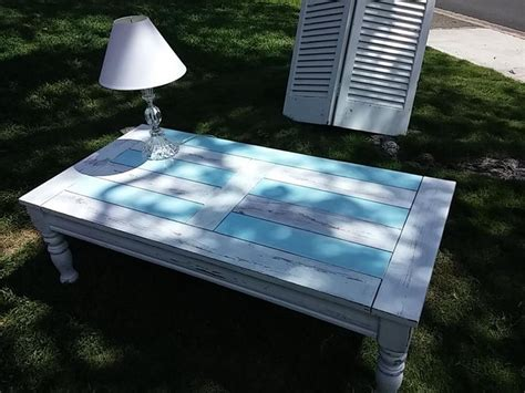 themed coffee table themed coffee table painted in white and light blue 4369