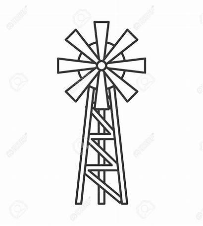 Windmill Farm Drawing Wind Mill Vector Icon