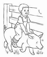 Boy Coloring Farm Pig Sky Coloringsky sketch template