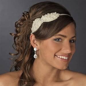 Pearl And Rhinestone Bow Headbands Elegant Bridal Hair