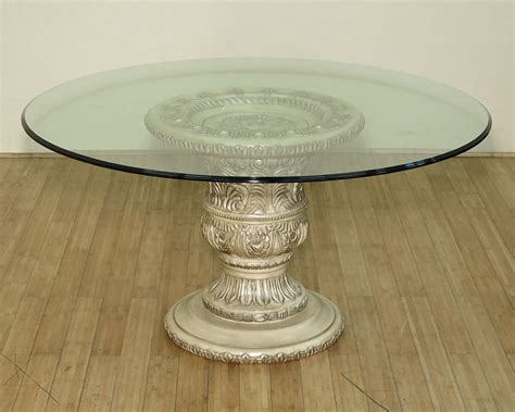 60 glass dining table 60in antiqued white ornate glass pedestal dining 7372