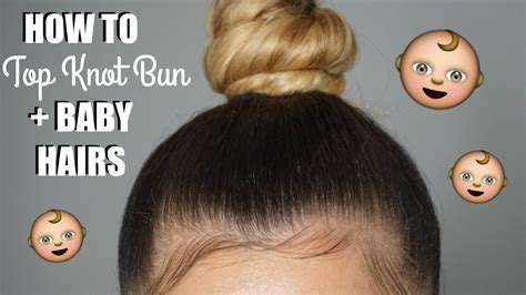 How To Sleek Top Knot Bun + Baby Hairs  Youtube