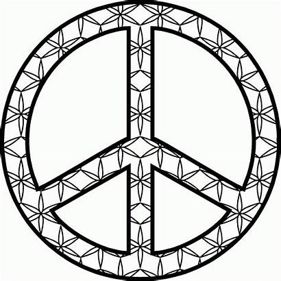 Peace Sign Coloring Pages Symbol Flower Line