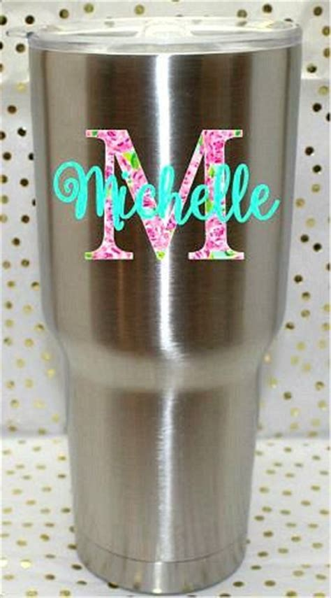 lily p inspired custom yeti cup decal rtic cup  theglitteryhippo custom yeti cup decals
