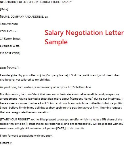 Salary Negotiation Email Template by Salary Negotiation Letter Sle