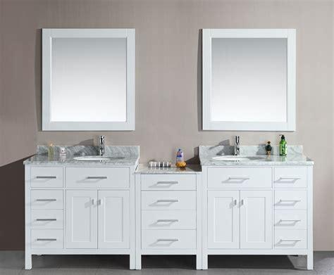 Avola 92 Inch Double Sink Bathroom Vanity White Finish