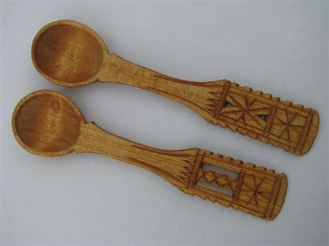 vintage chip carving swedish wooden spoons forks knives