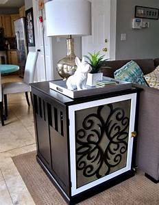 studio 7 interior design diy dog crate end table With white dog crate table