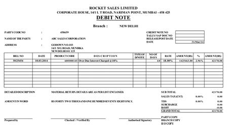 debit note template excel format helps