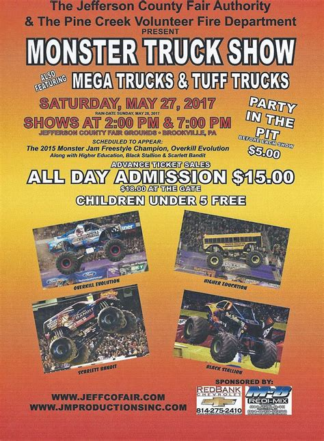 monster truck show tickets prices monster truck show set for saturday at jefferson county