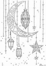 Ramadan Colouring Pages Printable Lune Lanterne sketch template