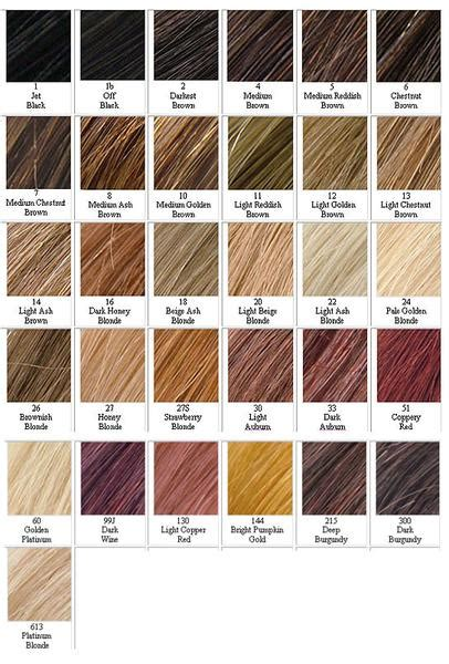 Hair Colours List by Hair Colour Chart A List Lace Hair