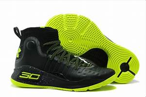 Mens Under Armour Curry 4 Black Neon Green Basketball
