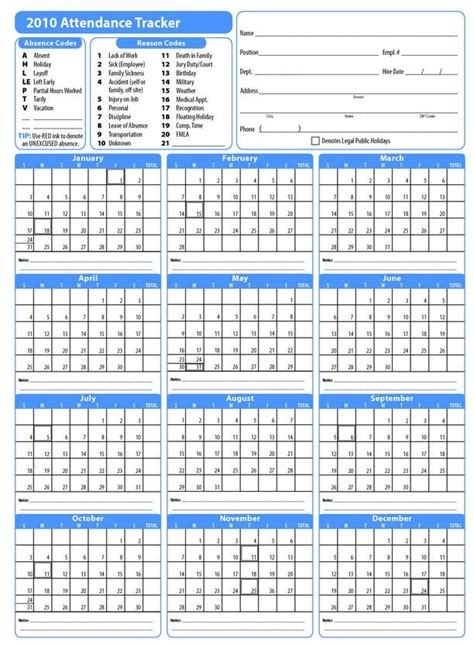 printable  employee attendance calendar attendance