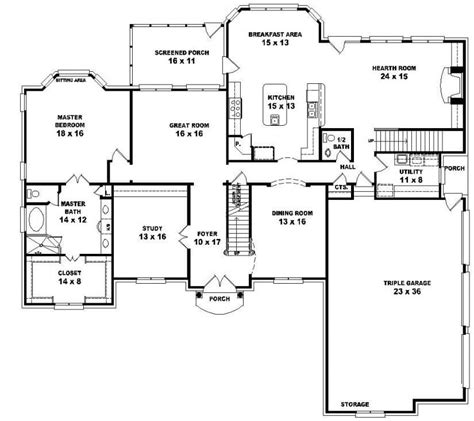 5 Bedroom 3 Bath House Plans Unique One Story 5 Bedroom