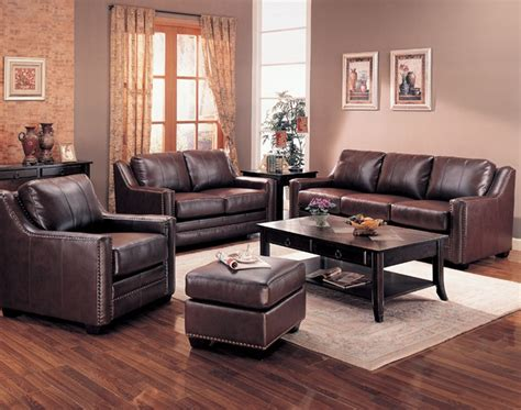 gibson leather living room set  brown sofas
