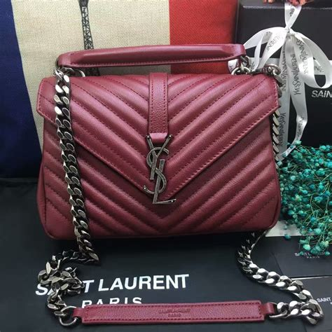 ysl top handle shoulder bag cm dark red silver  dark red silver  replica ysl