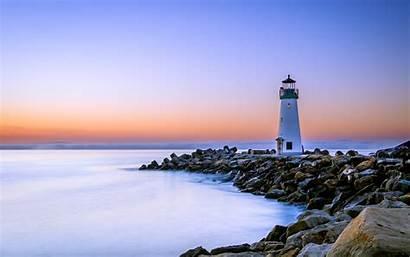 Lighthouse California Sea Usa Dawn Rocks Iphone