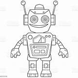 Robot Coloring Cartoon Outline Children Vector Illustration Activity Usa sketch template