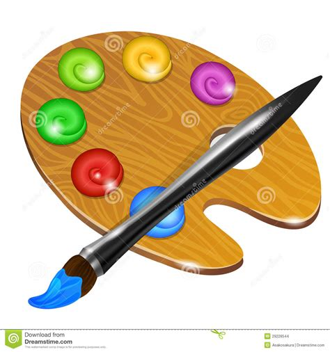 art palette  paint brush  drawing stock images