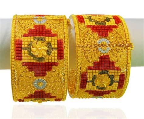 22k gold three tone kada 2 pcs ajba64532 us 6 880 22kt gold three tone designer kada