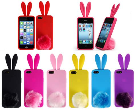 rabbit ear mobile rabbit mobile phone cases for iphone 4 4s silicone