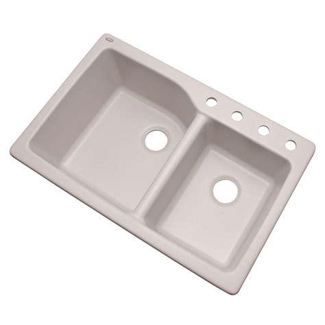 white kitchen sink faucets glacier bay grande dual mount composite granite 35 in 4