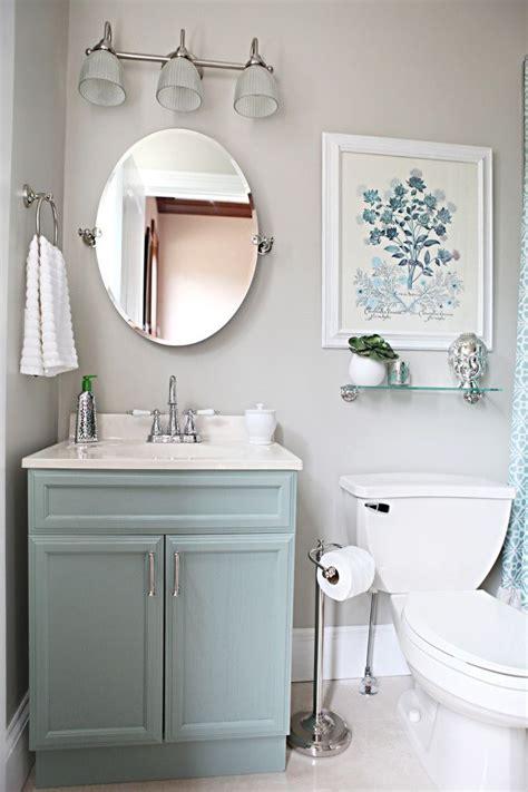 bathroom mushroom grey walls nickel fixtures