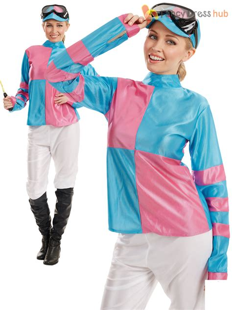Ladies Jockey Costume Adults Horse Rider Racer Fancy Dress Womens Sport Outfit | eBay