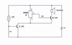 Simple Day Light Sensor Circuit Using Ldr And Um66 Ic