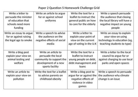 aqa language paper  question  challenge grid teaching resources