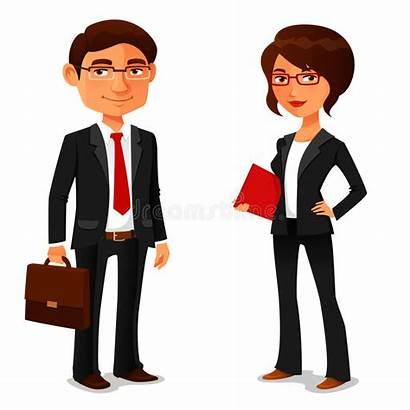 Cartoon Businessman Businesswoman Funny Illustration Vector Successful