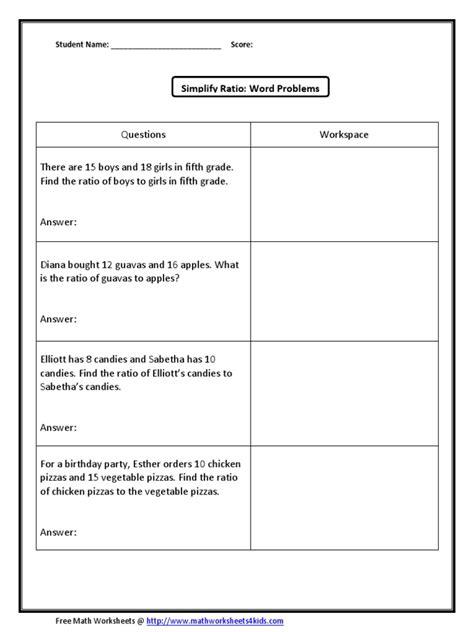Math Worksheets 6th Grade Ratios  Worksheet Example