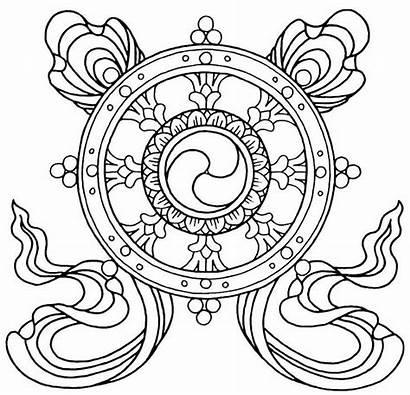 Buddhist Buddha Pages Symbols Mandala Coloring Dharma