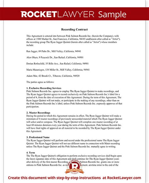 recording contract template recording agreement for artists independent labels with sle