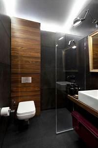 Salle De Bain Grise Et Bois : salle de bain noir et bois et lambris bois carrelage ~ Melissatoandfro.com Idées de Décoration