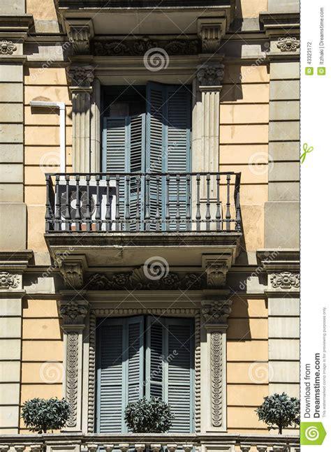Elegant Balcony In Barcelona. Stock Photo