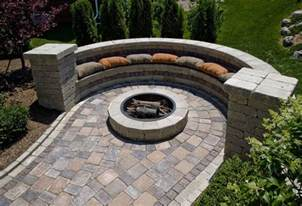 Patio with Fire Pit and Seating Wall