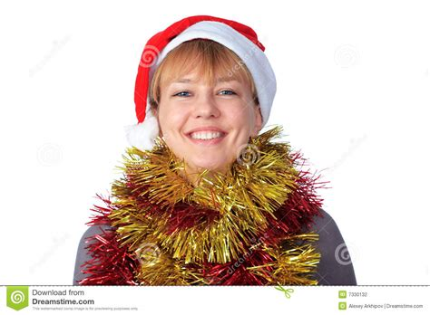 woman wearing a santa hat stock photography image 7330132