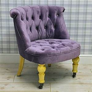 Vintage, Style, Purple, Velvet, Upholstered, Button, Back, Bedroom, Sofa, Occasional, Accent, Chair