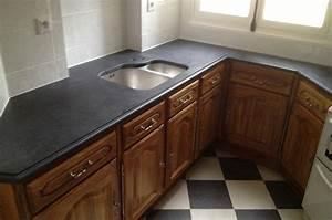 Plan De Travail Marbre Noir : granit cuisine plan de travail en granit noir evier en ~ Dailycaller-alerts.com Idées de Décoration